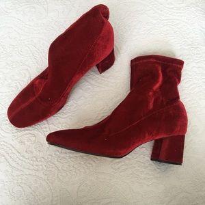 Zara red velvet boots, booties, stretch velvet